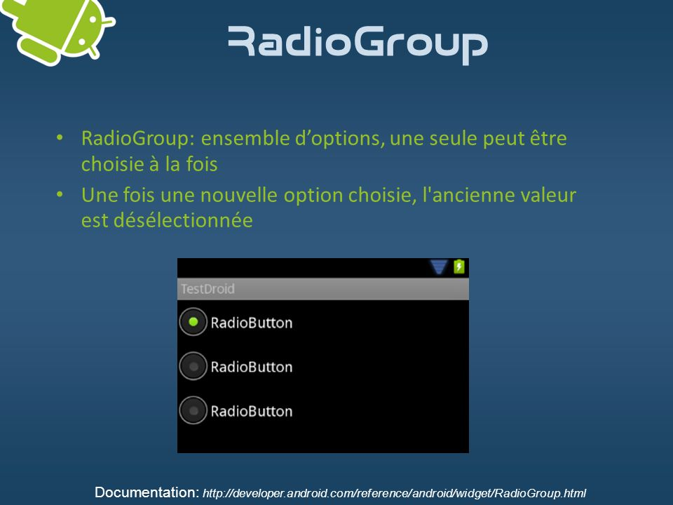 RadioGroup RadioGroup: ensemble d'options, une seule peut être choisie à la fois.