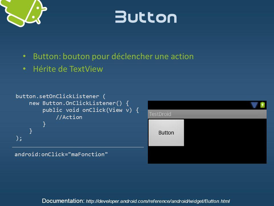 Button Button: bouton pour déclencher une action Hérite de TextView