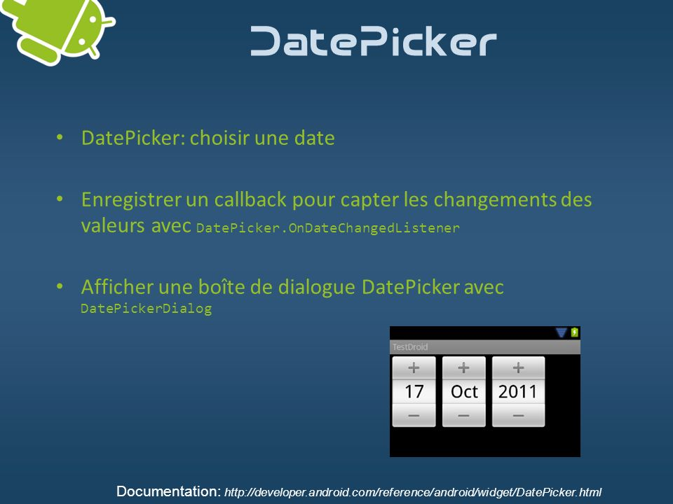 DatePicker DatePicker: choisir une date