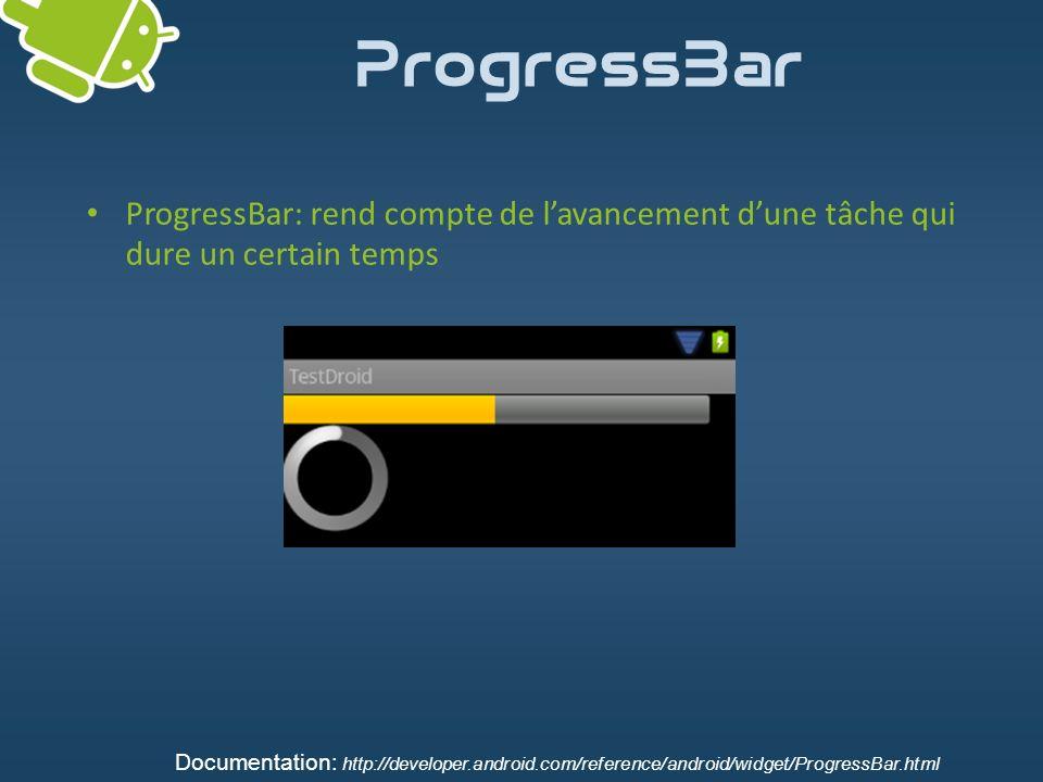 ProgressBar ProgressBar: rend compte de l'avancement d'une tâche qui dure un certain temps.