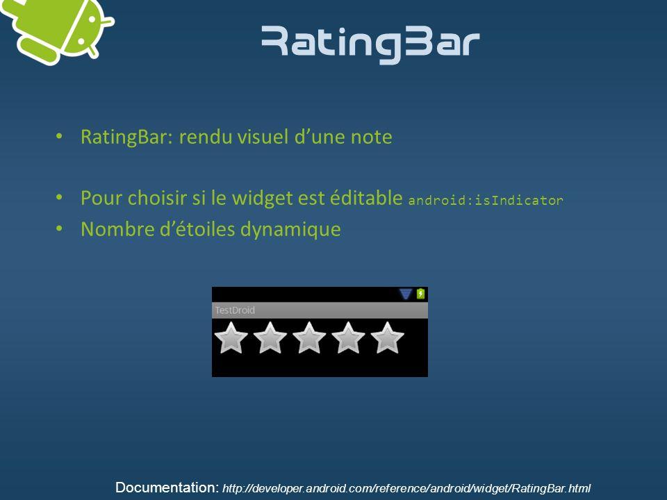 RatingBar RatingBar: rendu visuel d'une note