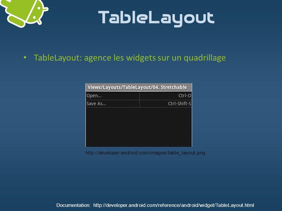 TableLayout TableLayout: agence les widgets sur un quadrillage