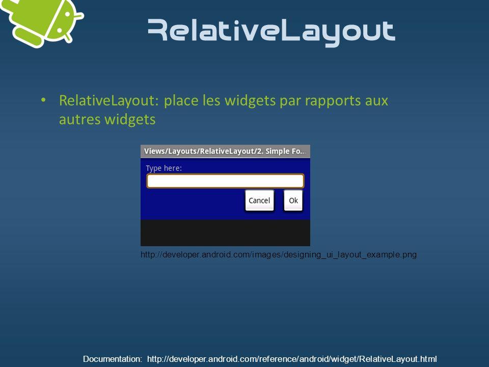 RelativeLayout RelativeLayout: place les widgets par rapports aux autres widgets.