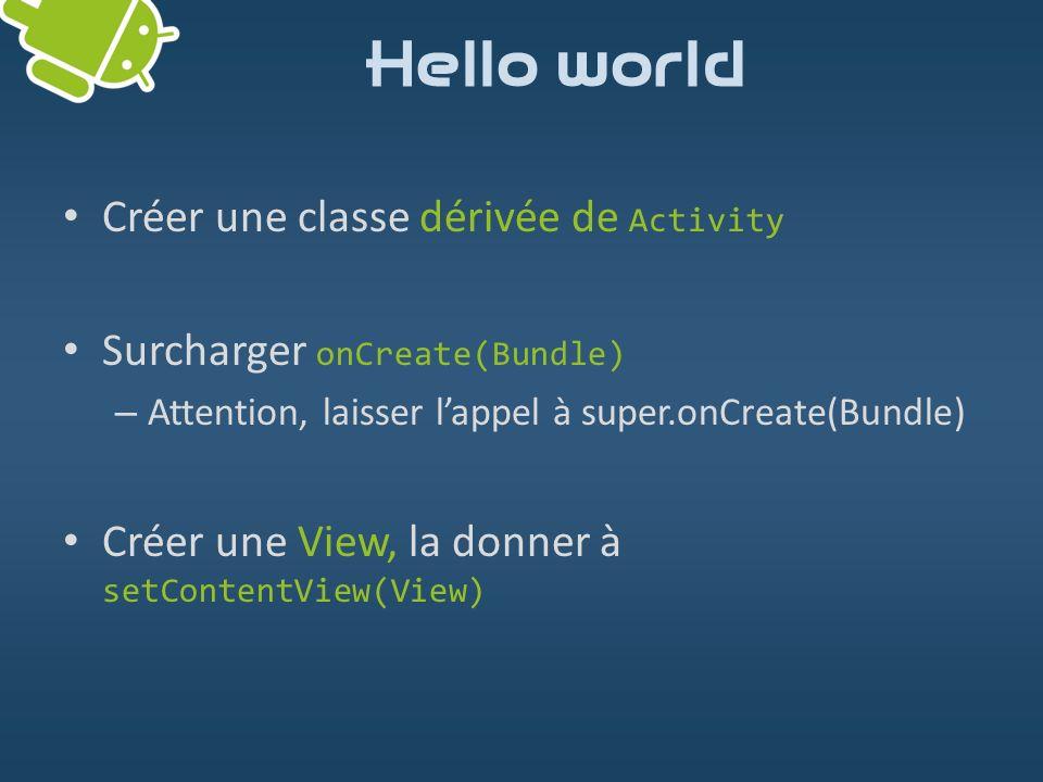 Hello world Créer une classe dérivée de Activity