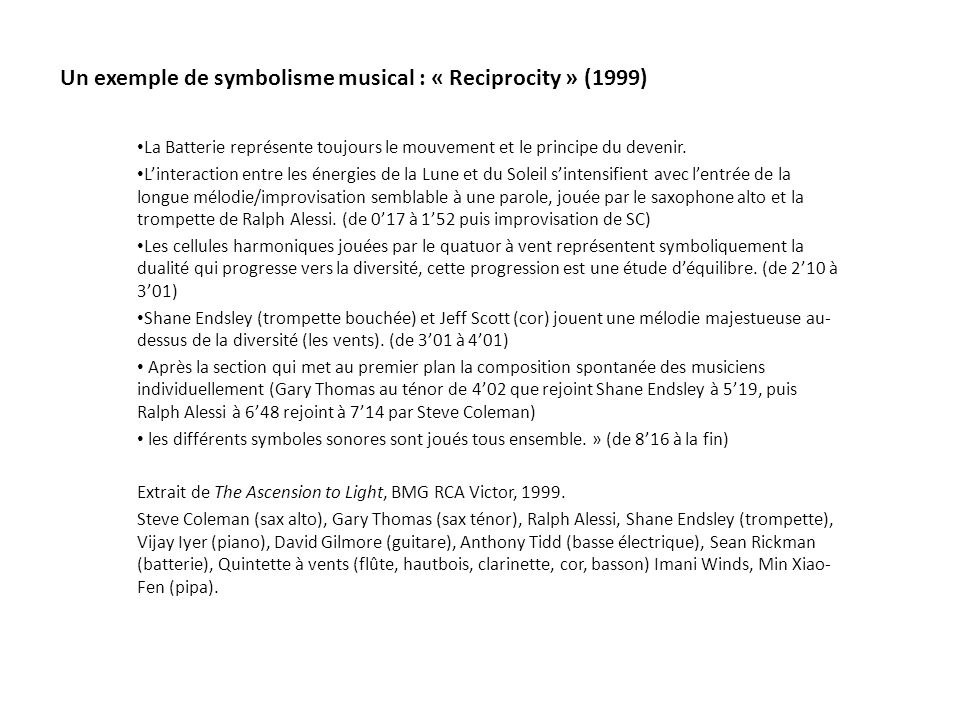 Un exemple de symbolisme musical : « Reciprocity » (1999)