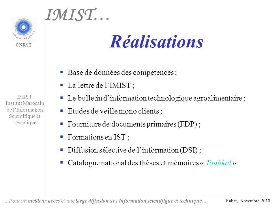 IMIST… Réalisations Base de données des compétences ;