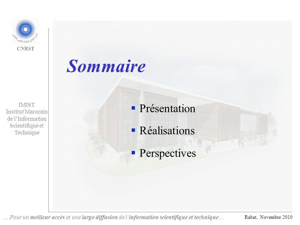 Sommaire Présentation Réalisations Perspectives