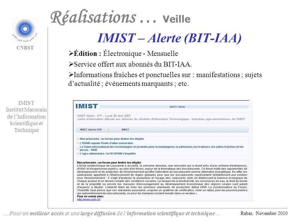 IMIST – Alerte (BIT-IAA)