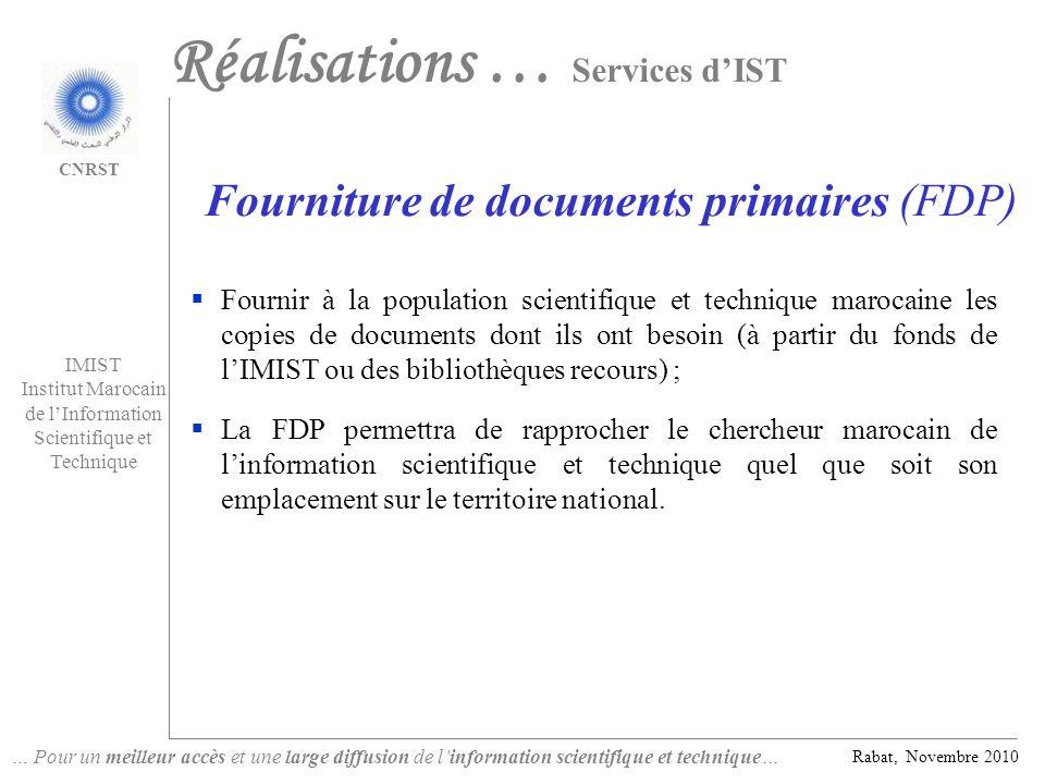 Fourniture de documents primaires (FDP)