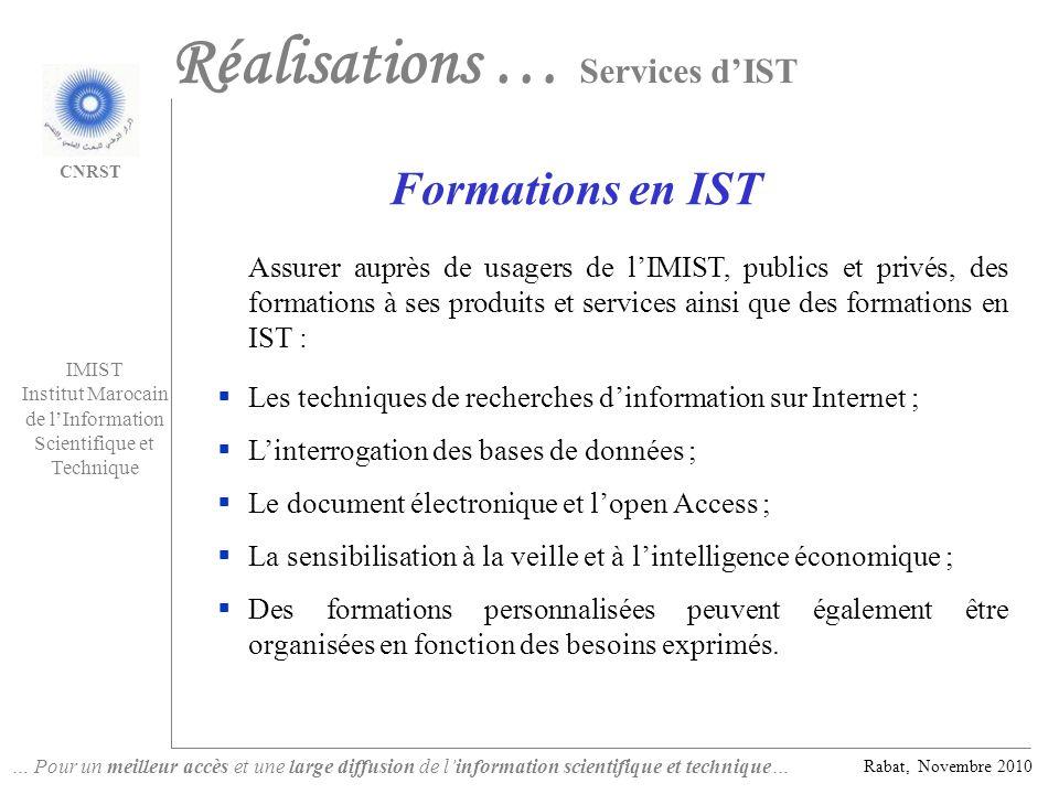 Réalisations … Services d'IST