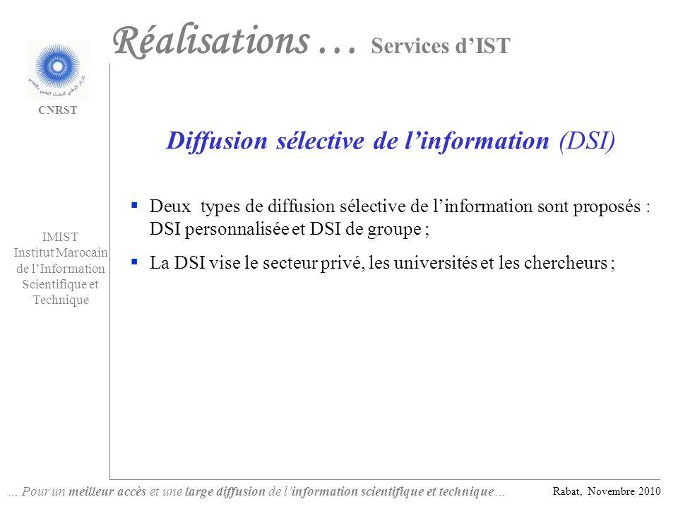 Diffusion sélective de l'information (DSI)