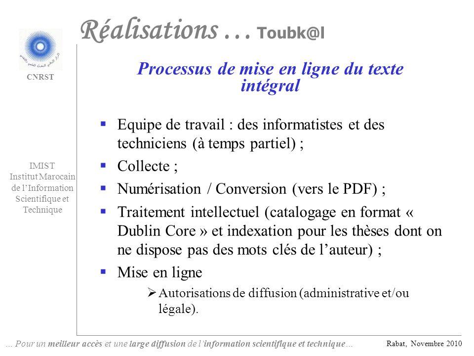 Processus de mise en ligne du texte intégral