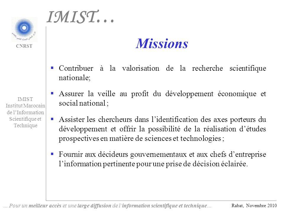 IMIST… Missions. Contribuer à la valorisation de la recherche scientifique nationale;