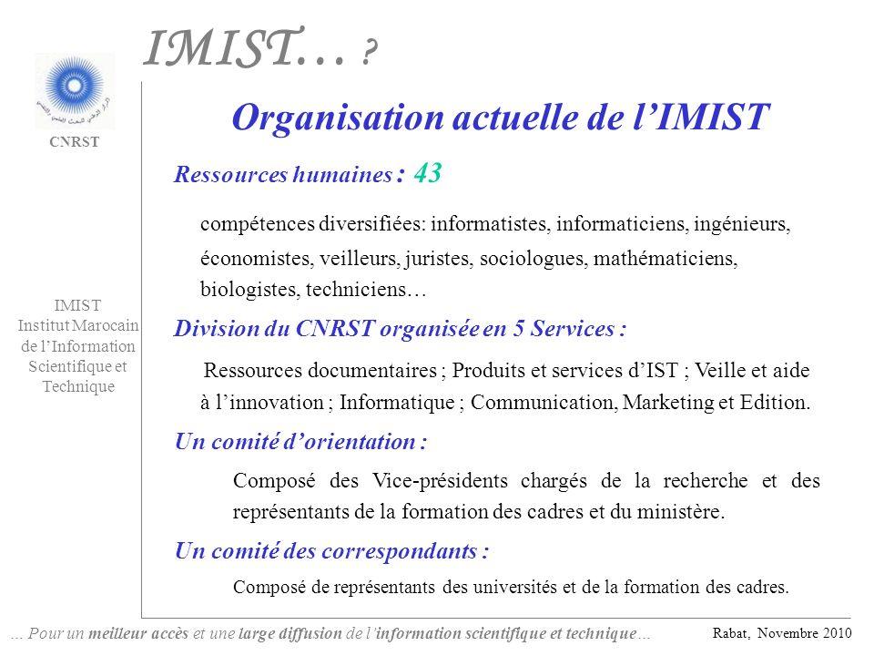 Organisation actuelle de l'IMIST