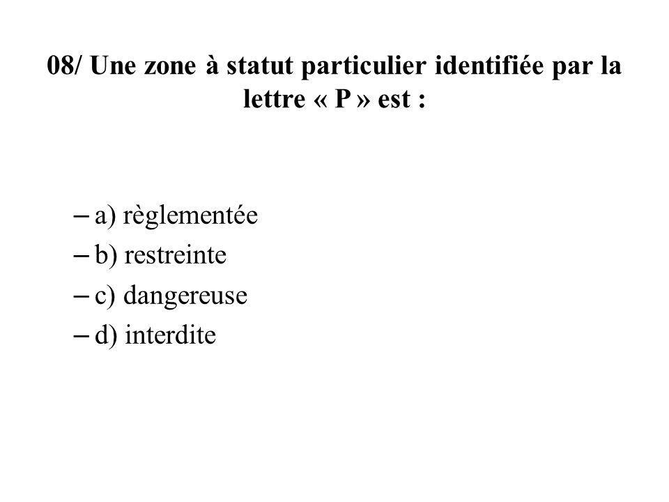 08/ Une zone à statut particulier identifiée par la lettre « P » est :