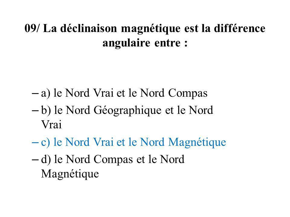 09/ La déclinaison magnétique est la différence angulaire entre :