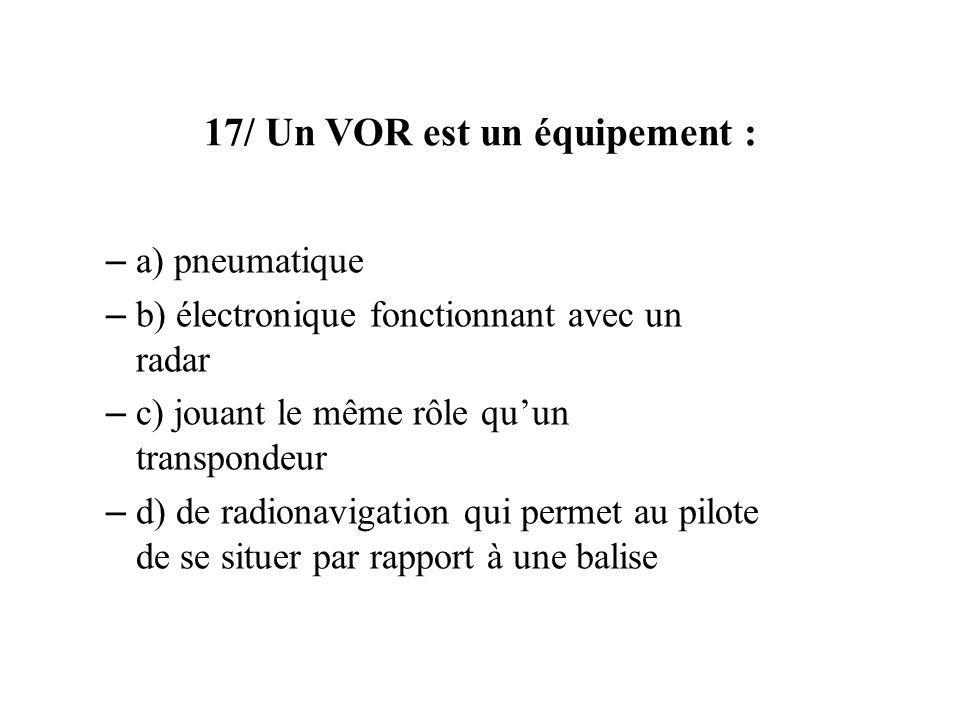 17/ Un VOR est un équipement :