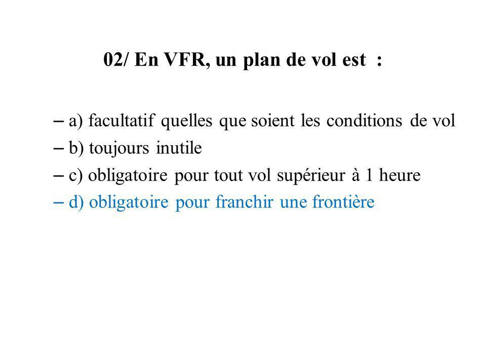 02/ En VFR, un plan de vol est :