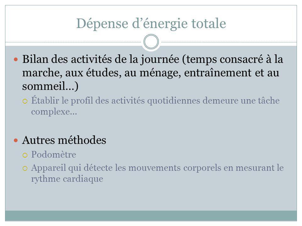 Dépense d'énergie totale