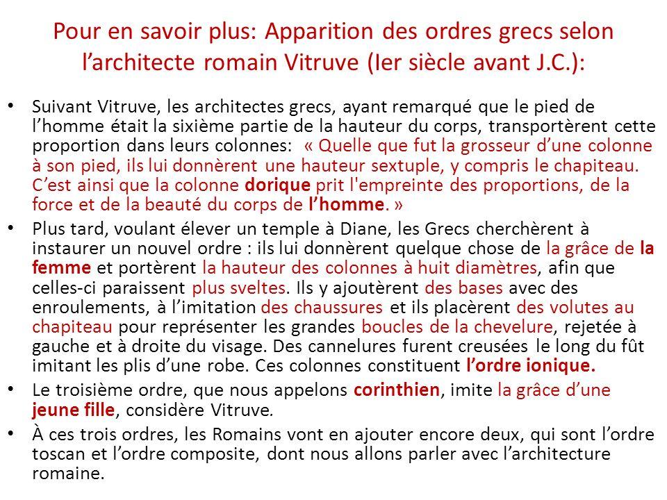 Pour en savoir plus: Apparition des ordres grecs selon l'architecte romain Vitruve (Ier siècle avant J.C.):
