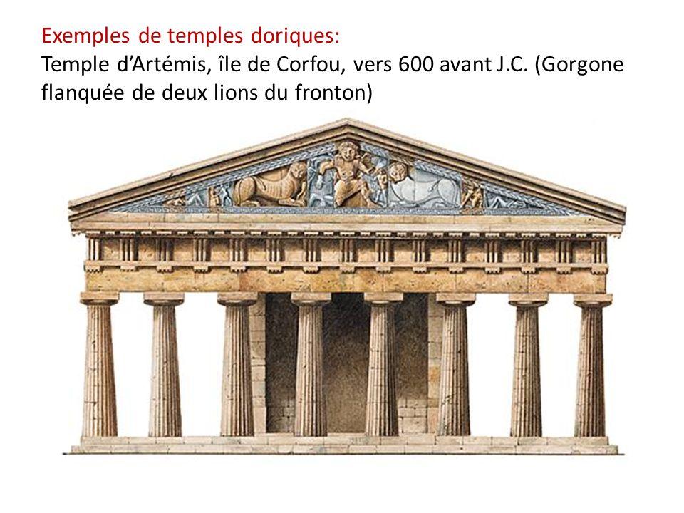 Exemples de temples doriques: Temple d'Artémis, île de Corfou, vers 600 avant J.C.