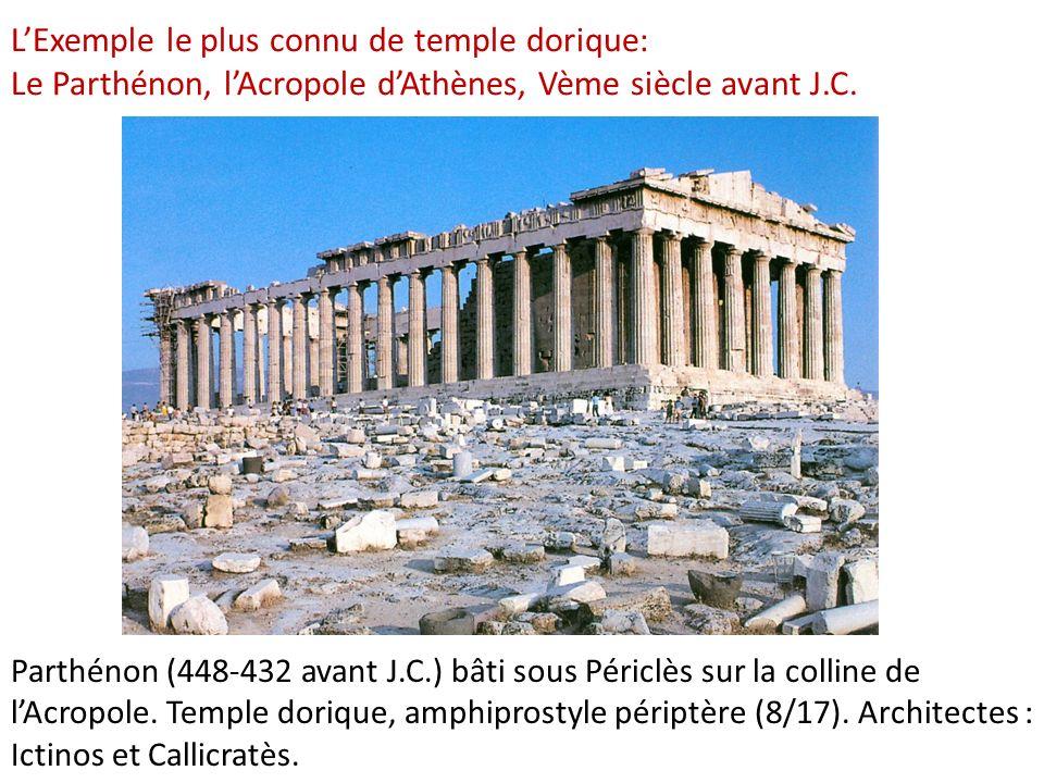 L'Exemple le plus connu de temple dorique: Le Parthénon, l'Acropole d'Athènes, Vème siècle avant J.C.