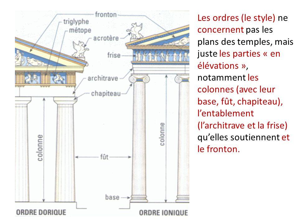 Les ordres (le style) ne concernent pas les plans des temples, mais juste les parties « en élévations », notamment les colonnes (avec leur base, fût, chapiteau), l'entablement (l'architrave et la frise) qu'elles soutiennent et le fronton.