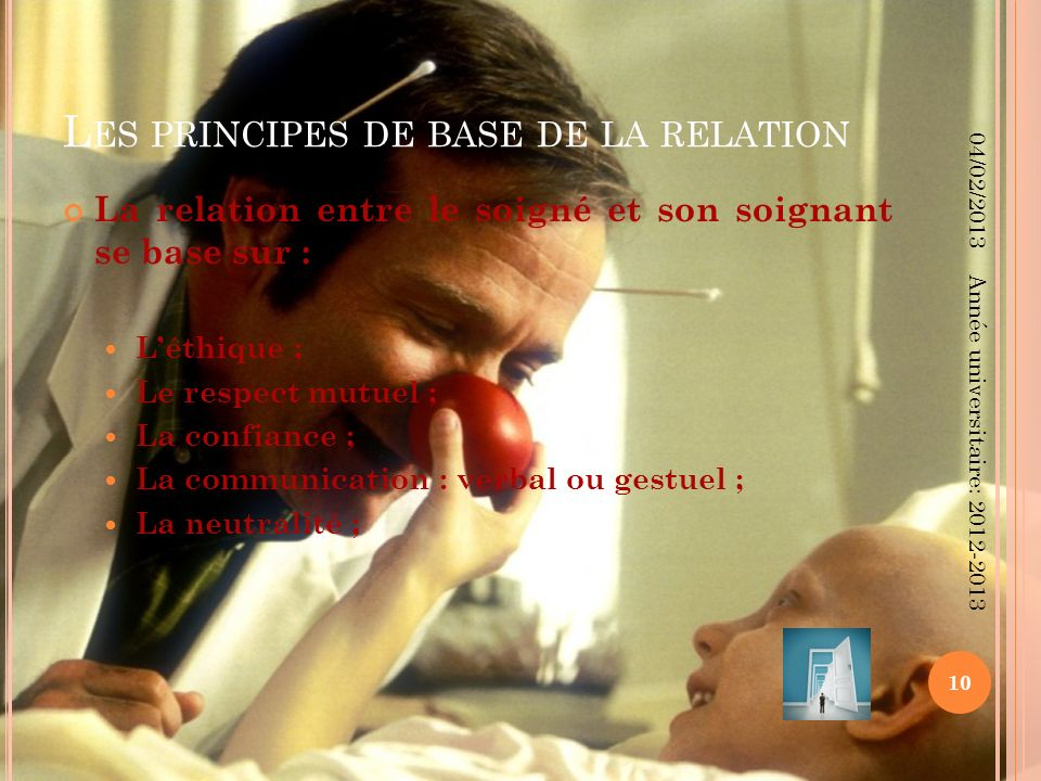Les principes de base de la relation