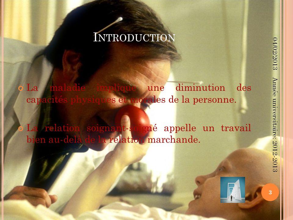 Introduction 04/02/2013. La maladie implique une diminution des capacités physiques et morales de la personne.