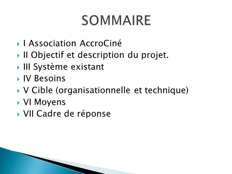 SOMMAIRE I Association AccroCiné II Objectif et description du projet.