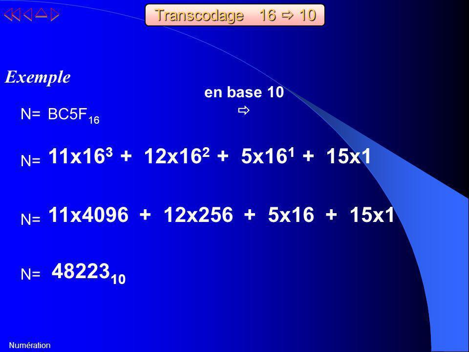 Transcodage 16  10 Exemple. en base 10.  N= BC5F16. 11x163 + 12x162 + 5x161 + 15x1. N=