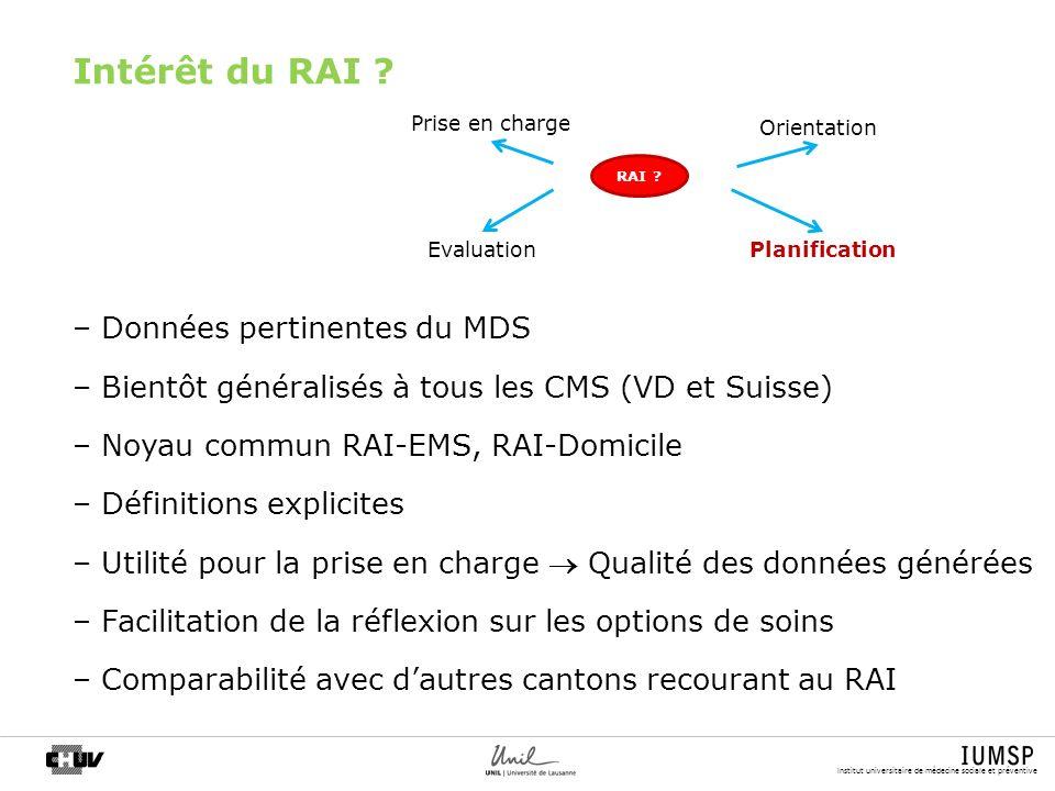 Intérêt du RAI Données pertinentes du MDS