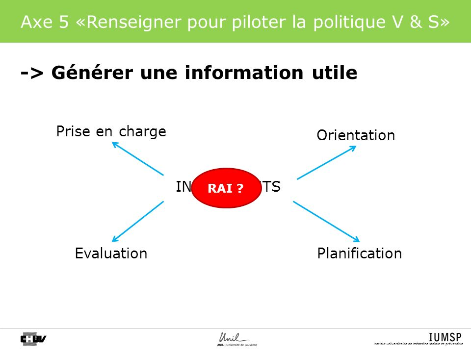 Axe 5 «Renseigner pour piloter la politique V & S»