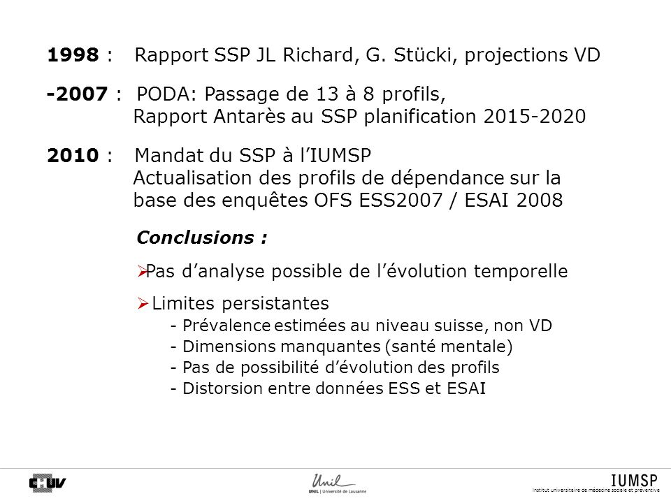 1998 : Rapport SSP JL Richard, G. Stücki, projections VD