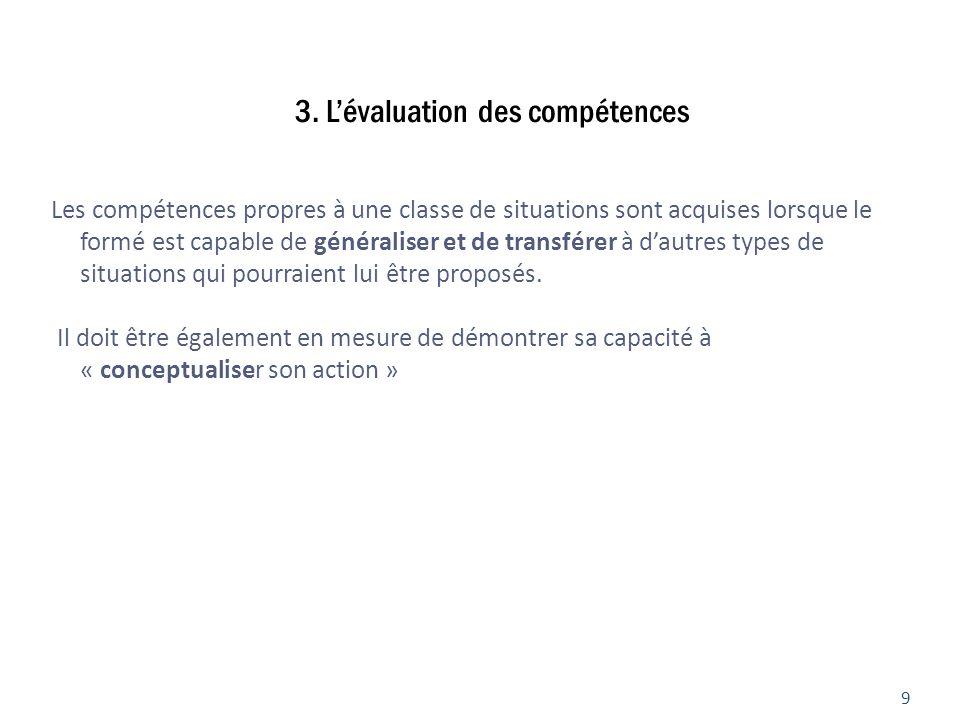 3. L'évaluation des compétences