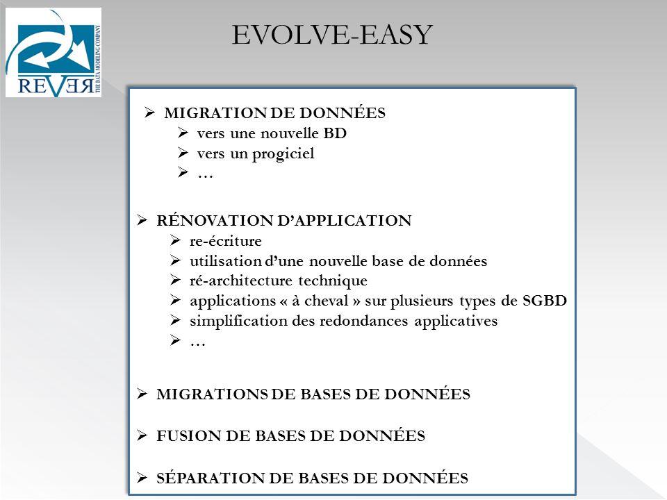 EVOLVE-EASY MIGRATION DE DONNÉES vers une nouvelle BD