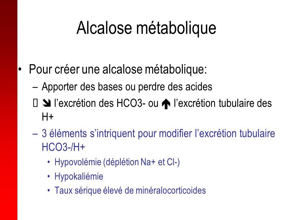 Alcalose métabolique Pour créer une alcalose métabolique: