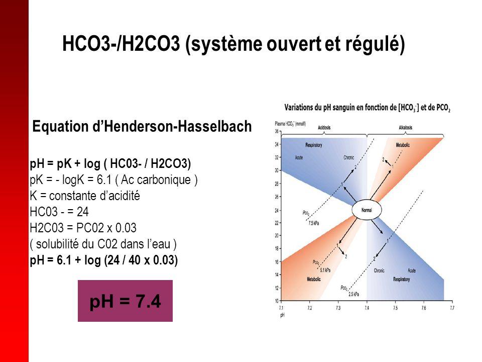 HCO3-/H2CO3 (système ouvert et régulé)