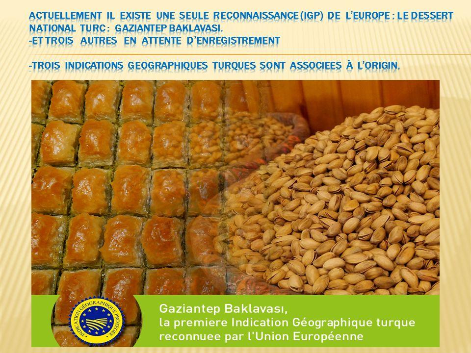 Actuellement il existe une seule reconnaissance (IGP) de l'Europe : le dessert national turc : Gaziantep BaklavasI.