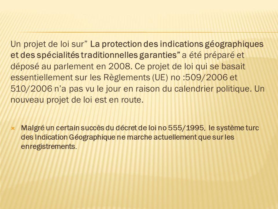 Un projet de loi sur La protection des indications géographiques et des spécialités traditionnelles garanties a été préparé et déposé au parlement en 2008. Ce projet de loi qui se basait essentiellement sur les Règlements (UE) no :509/2006 et 510/2006 n'a pas vu le jour en raison du calendrier politique. Un nouveau projet de loi est en route.