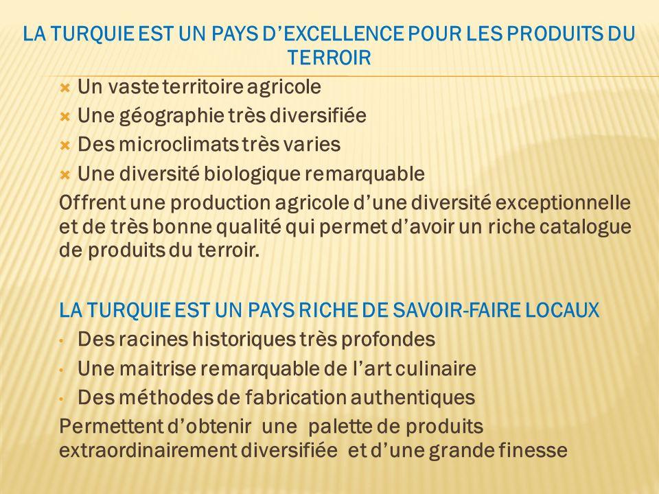 LA TURQUIE EST UN PAYS D'EXCELLENCE POUR LES PRODUITS DU TERROIR