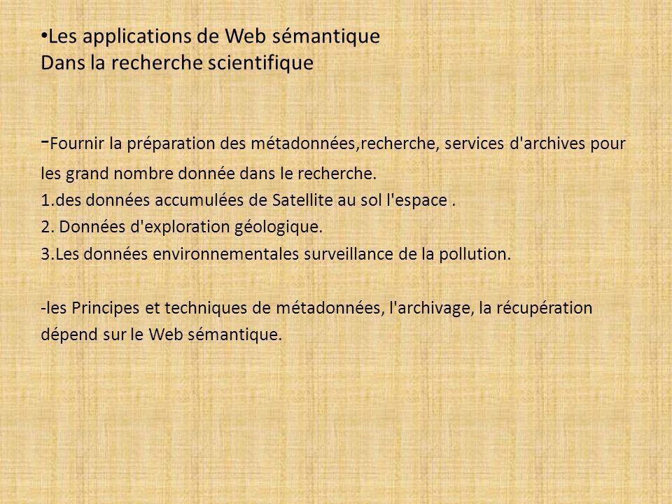 Les applications de Web sémantique Dans la recherche scientifique