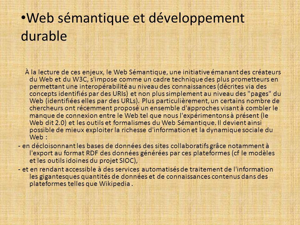 Web sémantique et développement durable