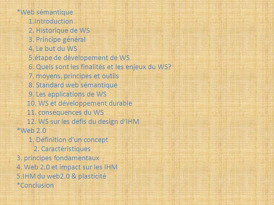 *Web sémantique 1.Introduction. 2. Historique de WS. 3. Principe général. 4. Le but du WS. 5.étape de dévelopement de WS.