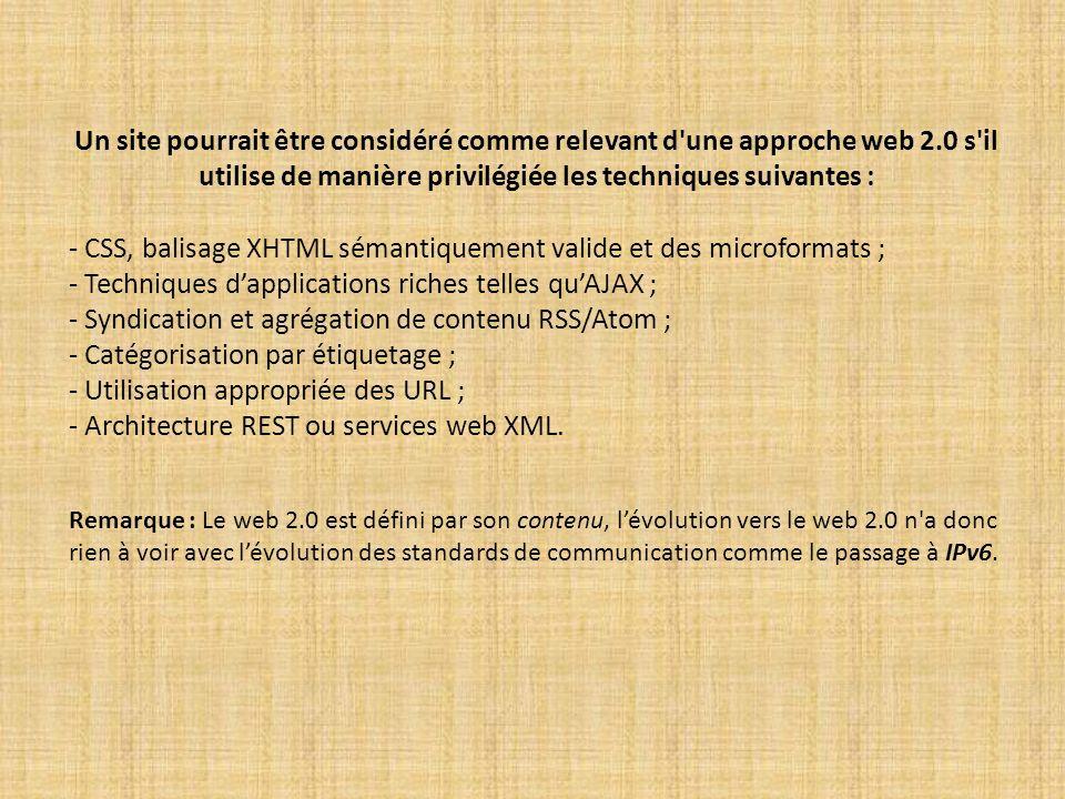 - CSS, balisage XHTML sémantiquement valide et des microformats ;