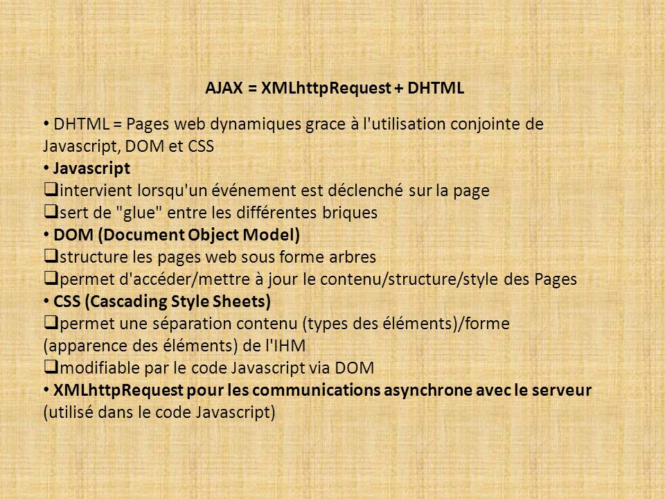 AJAX = XMLhttpRequest + DHTML