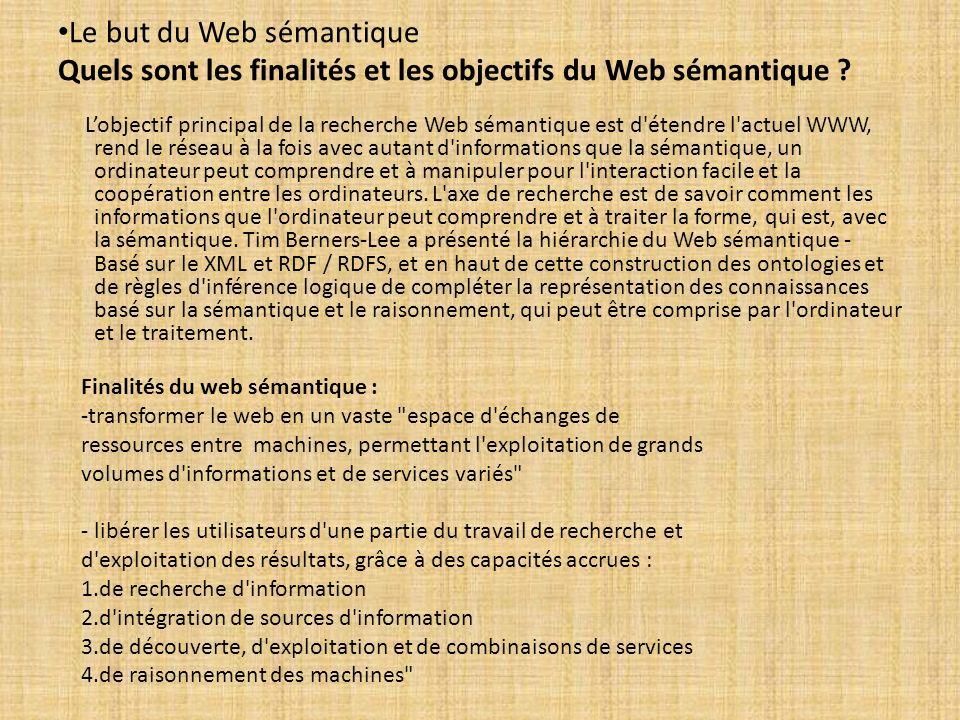 Le but du Web sémantique Quels sont les finalités et les objectifs du Web sémantique