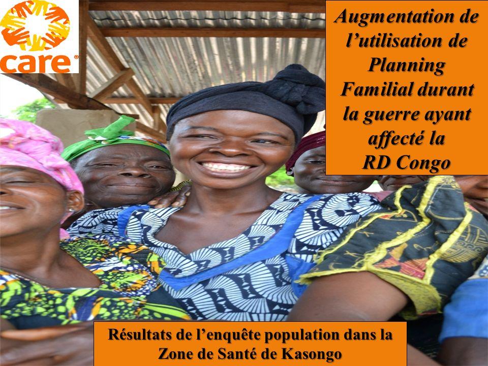Résultats de l'enquête population dans la Zone de Santé de Kasongo