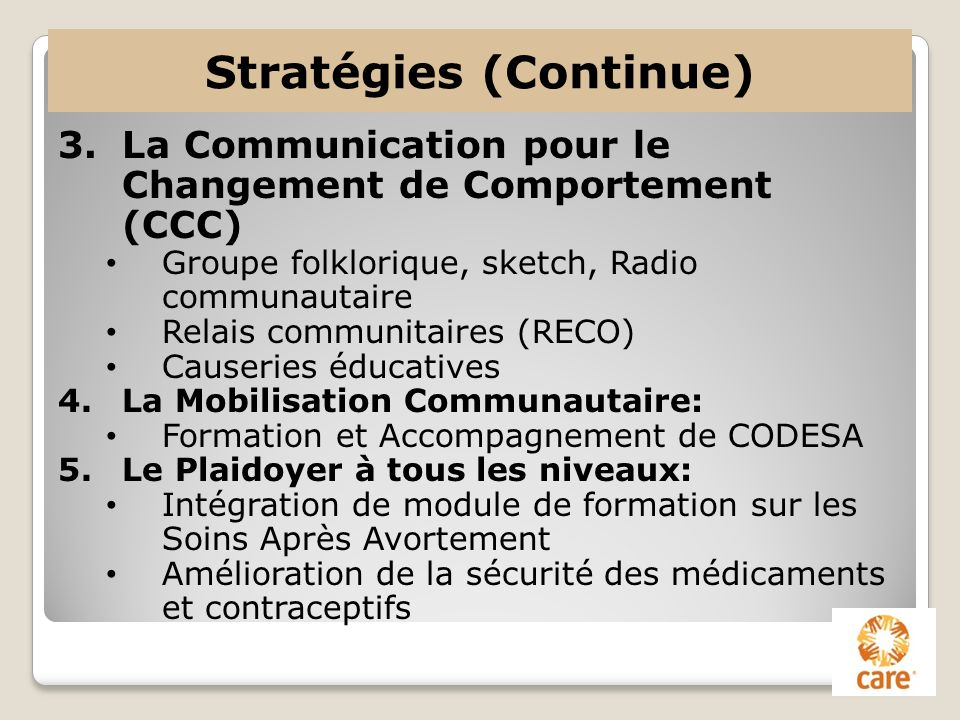Stratégies (Continue)