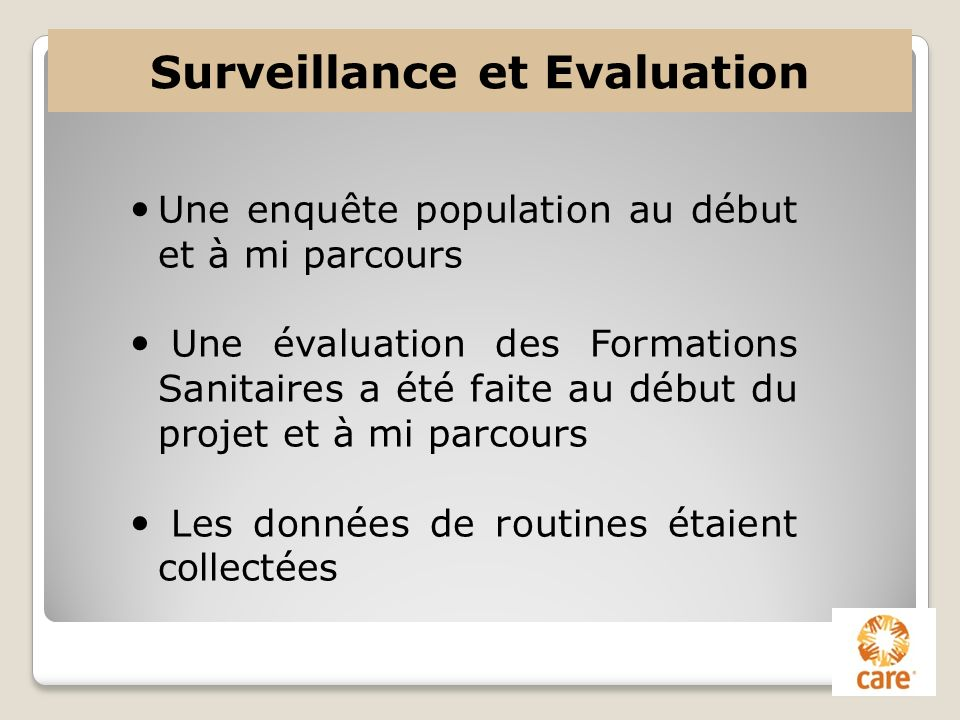 Surveillance et Evaluation